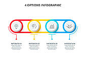 Abstract infographics number options template. Timeline presentation with 4 options, parts or processes.