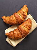 Croissants on grey slate background. Vertical image, top view.