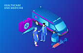 Medical concept with ambulance car and doctors. Isometric vector illustration on a dark blue backgound. Landing page template for web.