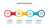 Abstract elements of graph, diagram with 4 steps, options, parts or processes. Vector business template for presentation. Creative concept for infographic.