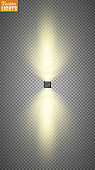 Vector spotlight. Light effect. Bright lighting with spotlights. The searchlight is white.