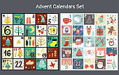 Christmas advent Calendars Set. Collection of count down days to holidays