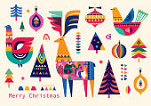 Christmas pattern in Scandinavian folk style
