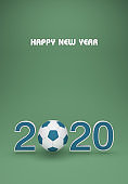 New Year 2020 with Football - 3D Rendered Image