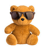 toy bear wearing sunglasses isolated clipping path