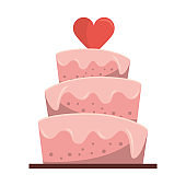Wedding cake with heart cartoon