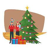 avatar family with little kids, merry christmas design