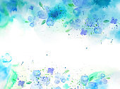 Watercolor background with blue flowers-2