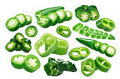 Green sliced chile peppers, paths