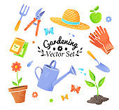 Collection of vector icons of gardening items