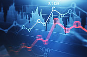 Blue and red forex graphs and bar charts