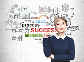 Woman pointing up and her business strategy
