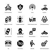 Car Driving Glyph Icons