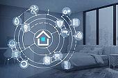 Smart home interface in bedroom