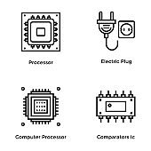 Computer Hardware Line Vector Icon Pack