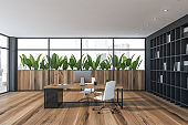 Wooden CEO office interior with bookcase