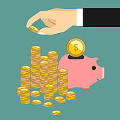 Hand put coin to money staircase. Profit, piggy bank, making money. For business and finance concept.