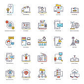 Pack Of Networking Flat Icons