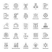 Global Networking Line Icons Pack