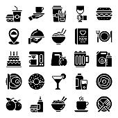 Pack Of Food Glyph Icons