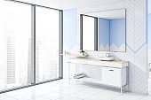 White and blue bathroom corner with sink