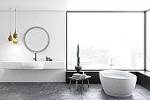 Panoramic bathroom, white tub and sink