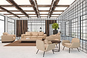Office lounge area with beige sofas