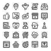 Seo Optimization line Icons Pack