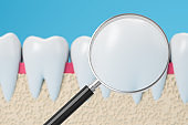 Healthy teeth with magnifying glass