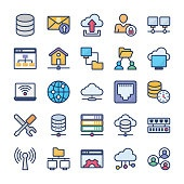 Network Hosting Flat Icons Pack