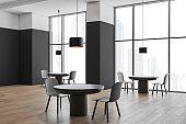 Black and white panoramic cafe interior