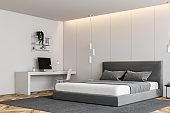 White bedroom corner with computer desk