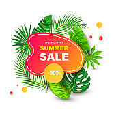 Summer sale banner with tropical leaves.