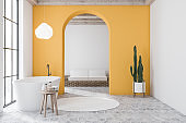 Yellow bathroom and living room interior