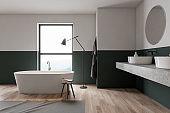 Green and white bathroom interior