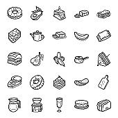 Fruits and Bakery Items Hand Drawn Vectors