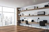 White open space designer office corner