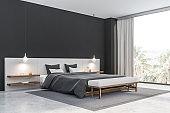 Gray and white bedroom corner