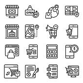 Pack Of E shopping Line Icons