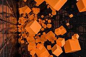 Abstract geometric background, orange cubes
