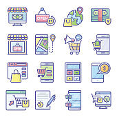 Pack Of E shopping Flat Icons