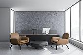 Concrete CEO office interior, leather armchairs