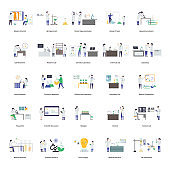 Scientists Research Flat Illustration