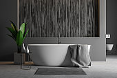 Gray and wooden bathroom, tub