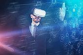 Businessman using VR interface