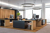 Modern wooden office interior with furniture. and city view.
