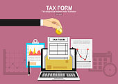 Tax payment concept. State taxes. Vector illustration of Businessman calculation tax return. Businessman calculation tax. Flat design. Tax form vector.