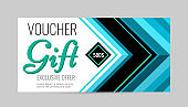 Horizontal gift voucher blue lines on white background. Bright abstract design with arrows.