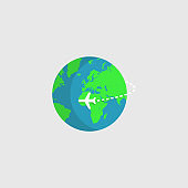 Airplane flying around the world. Vector illustration.