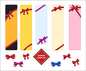 Vertical template colored banners with red bows.